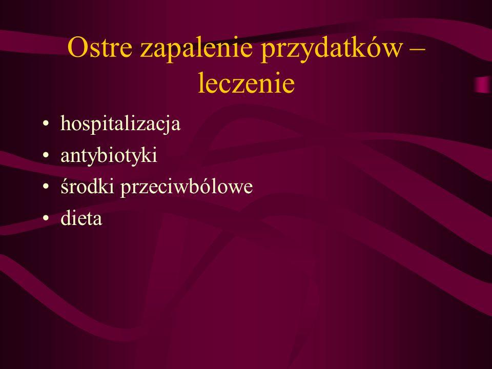 Ostre zapalenie przydatków – leczenie hospitalizacja antybiotyki środki przeciwbólowe dieta