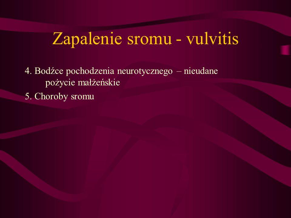 Zapalenie sromu - vulvitis 4. Bodźce pochodzenia neurotycznego – nieudane pożycie małżeńskie 5. Choroby sromu