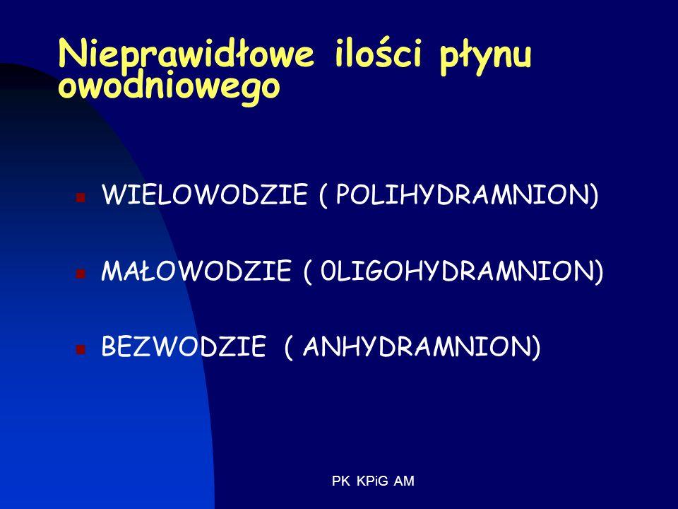 PK KPiG AM Nieprawidłowe ilości płynu owodniowego WIELOWODZIE ( POLIHYDRAMNION) MAŁOWODZIE ( 0LIGOHYDRAMNION) BEZWODZIE ( ANHYDRAMNION)