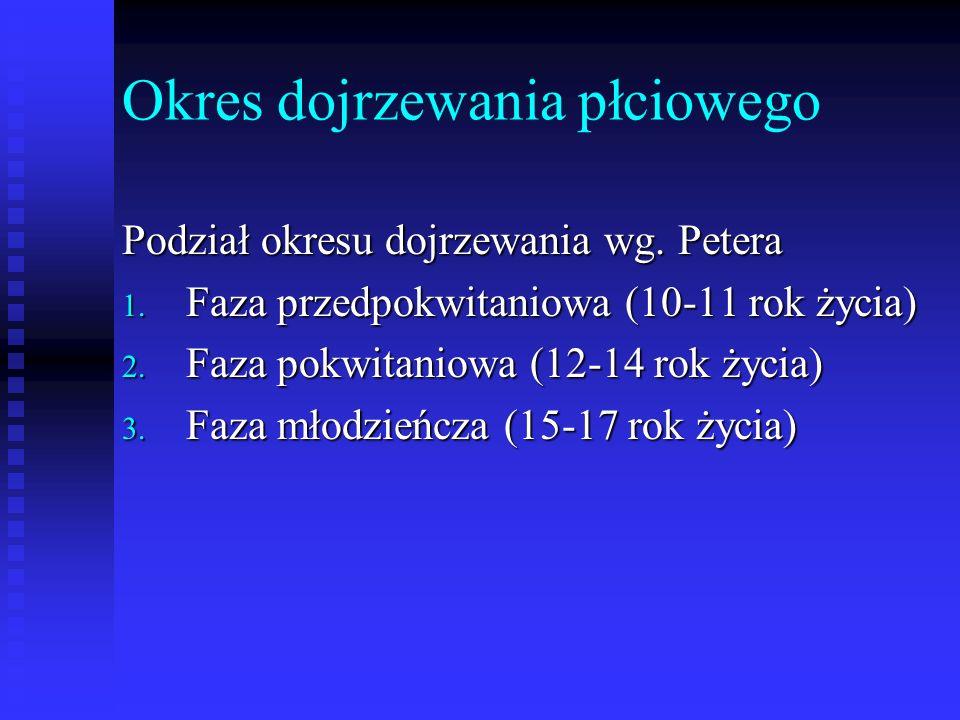Okres dojrzewania płciowego Podział okresu dojrzewania wg. Petera 1. Faza przedpokwitaniowa (10-11 rok życia) 2. Faza pokwitaniowa (12-14 rok życia) 3