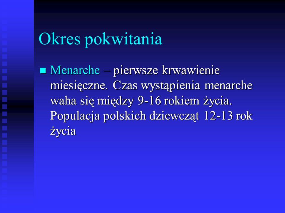 Okres pokwitania Menarche – pierwsze krwawienie miesięczne. Czas wystąpienia menarche waha się między 9-16 rokiem życia. Populacja polskich dziewcząt
