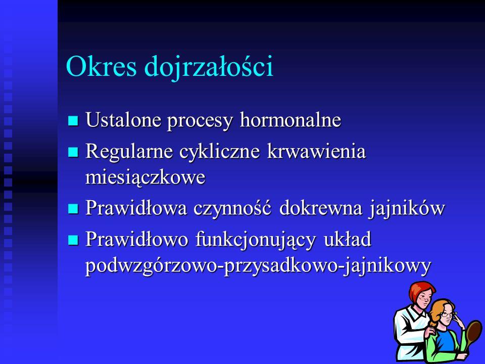 Okres dojrzałości Ustalone procesy hormonalne Ustalone procesy hormonalne Regularne cykliczne krwawienia miesiączkowe Regularne cykliczne krwawienia m