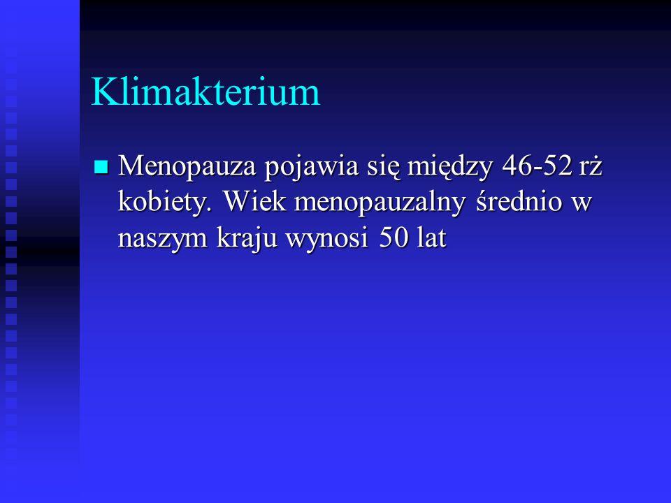Klimakterium Menopauza pojawia się między 46-52 rż kobiety. Wiek menopauzalny średnio w naszym kraju wynosi 50 lat Menopauza pojawia się między 46-52