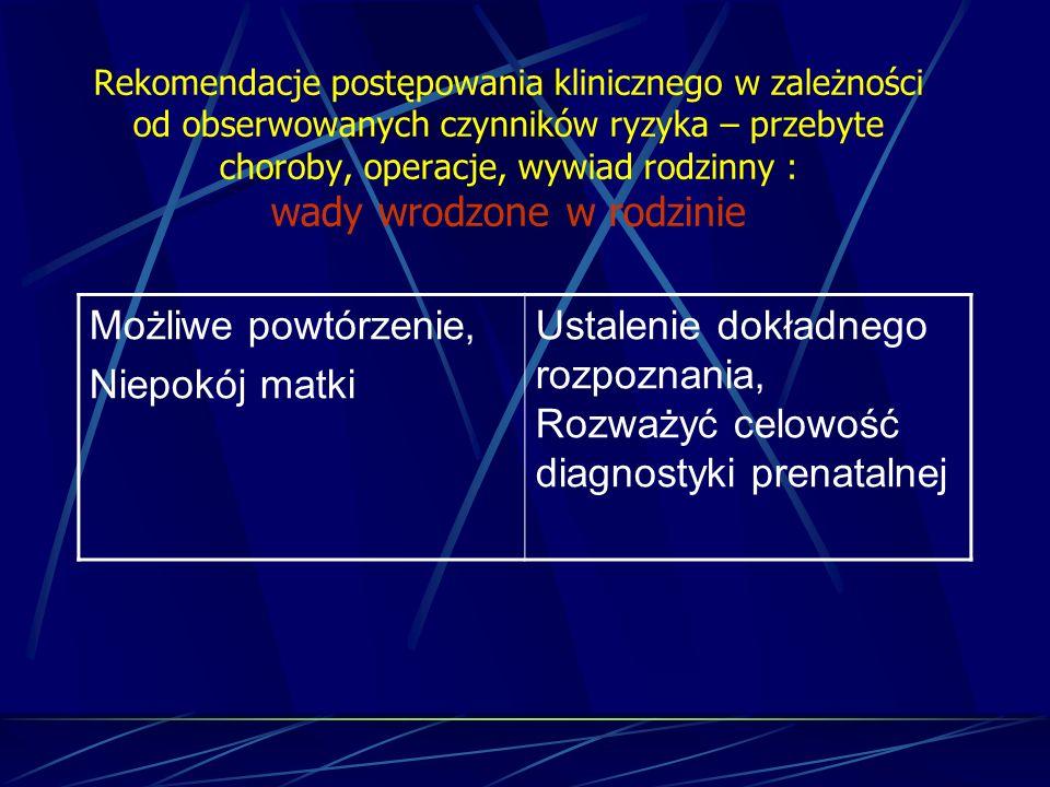 Rekomendacje postępowania klinicznego w zależności od obserwowanych czynników ryzyka – przebyte choroby, operacje, wywiad rodzinny : wady wrodzone w r