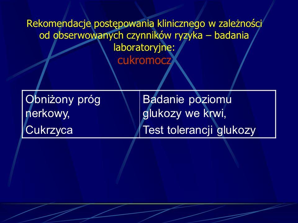 Rekomendacje postępowania klinicznego w zależności od obserwowanych czynników ryzyka – badania laboratoryjne: cukromocz Obniżony próg nerkowy, Cukrzyc