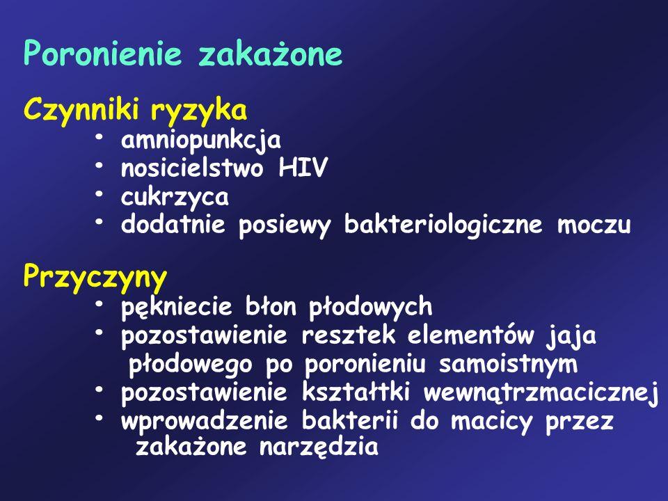 Poronienie zakażone Czynniki ryzyka amniopunkcja nosicielstwo HIV cukrzyca dodatnie posiewy bakteriologiczne moczu Przyczyny pękniecie błon płodowych