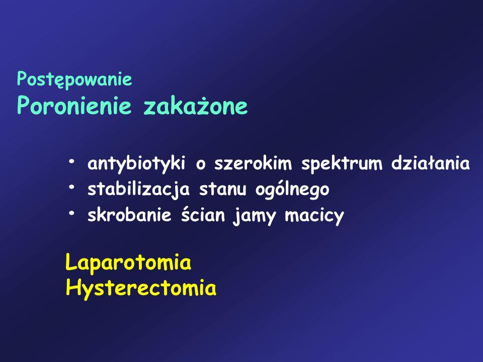 Postępowanie Poronienie zakażone antybiotyki o szerokim spektrum działania stabilizacja stanu ogólnego skrobanie ścian jamy macicy Laparotomia Hystere