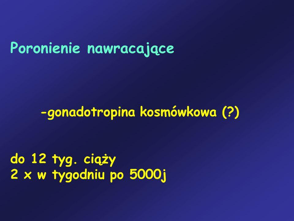 Poronienie nawracające -gonadotropina kosmówkowa (?) do 12 tyg. ciąży 2 x w tygodniu po 5000j
