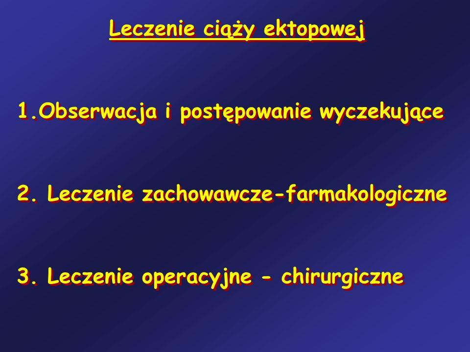 Leczenie ciąży ektopowej 1.Obserwacja i postępowanie wyczekujące 2. Leczenie zachowawcze-farmakologiczne 3. Leczenie operacyjne - chirurgiczne Leczeni