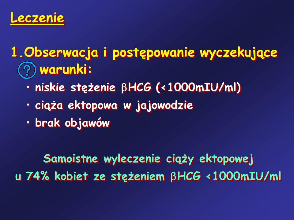 Leczenie 1.Obserwacja i postępowanie wyczekujące warunki: niskie stężenie HCG (<1000mIU/ml) ciąża ektopowa w jajowodzie brak objawów Samoistne wylecze