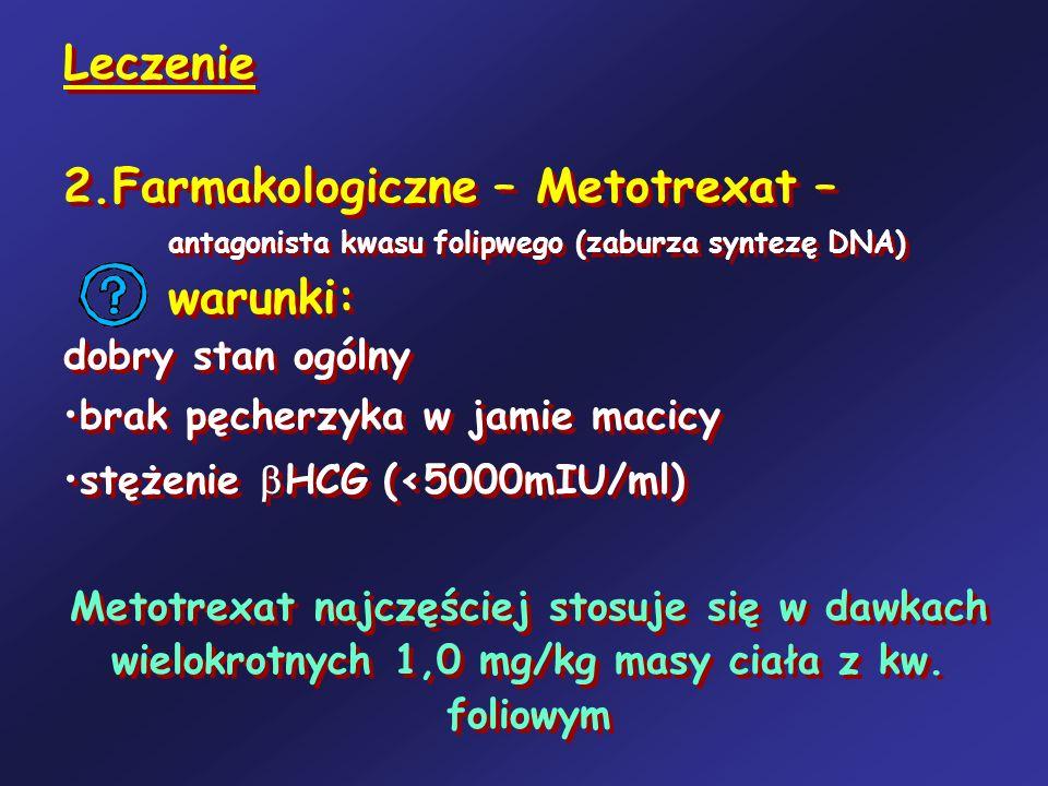 Leczenie 2.Farmakologiczne – Metotrexat – antagonista kwasu folipwego (zaburza syntezę DNA) warunki: dobry stan ogólny brak pęcherzyka w jamie macicy
