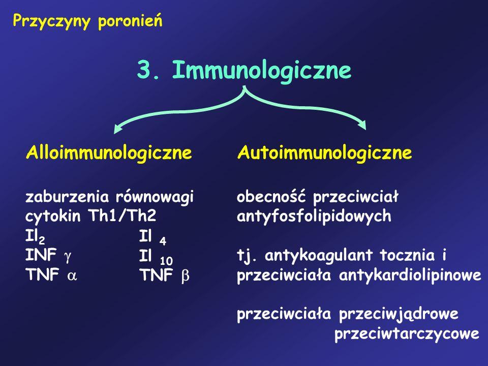 3. Immunologiczne Przyczyny poronień Alloimmunologiczne zaburzenia równowagi cytokin Th1/Th2 Il 2 INF TNF Autoimmunologiczne obecność przeciwciał anty