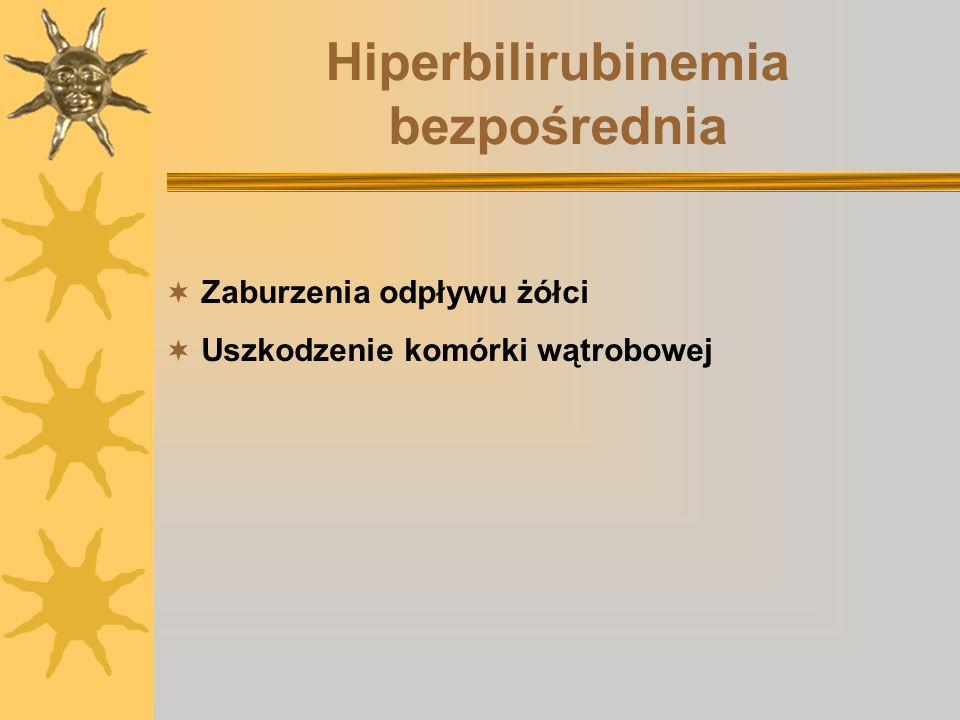 Hiperbilirubinemia bezpośrednia Zaburzenia odpływu żółci Uszkodzenie komórki wątrobowej