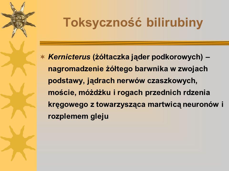 Toksyczność bilirubiny Kernicterus (żółtaczka jąder podkorowych) – nagromadzenie żółtego barwnika w zwojach podstawy, jądrach nerwów czaszkowych, mośc