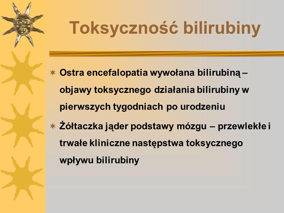 Toksyczność bilirubiny Ostra encefalopatia wywołana bilirubiną – objawy toksycznego działania bilirubiny w pierwszych tygodniach po urodzeniu Żółtaczk