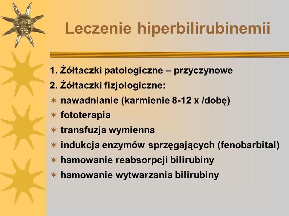 Leczenie hiperbilirubinemii 1. Żółtaczki patologiczne – przyczynowe 2. Żółtaczki fizjologiczne: nawadnianie (karmienie 8-12 x /dobę) fototerapia trans