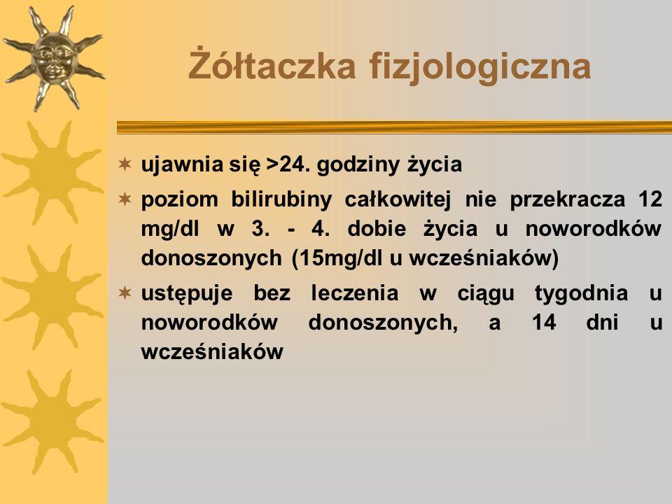 Żółtaczka fizjologiczna ujawnia się >24. godziny życia poziom bilirubiny całkowitej nie przekracza 12 mg/dl w 3. - 4. dobie życia u noworodków donoszo