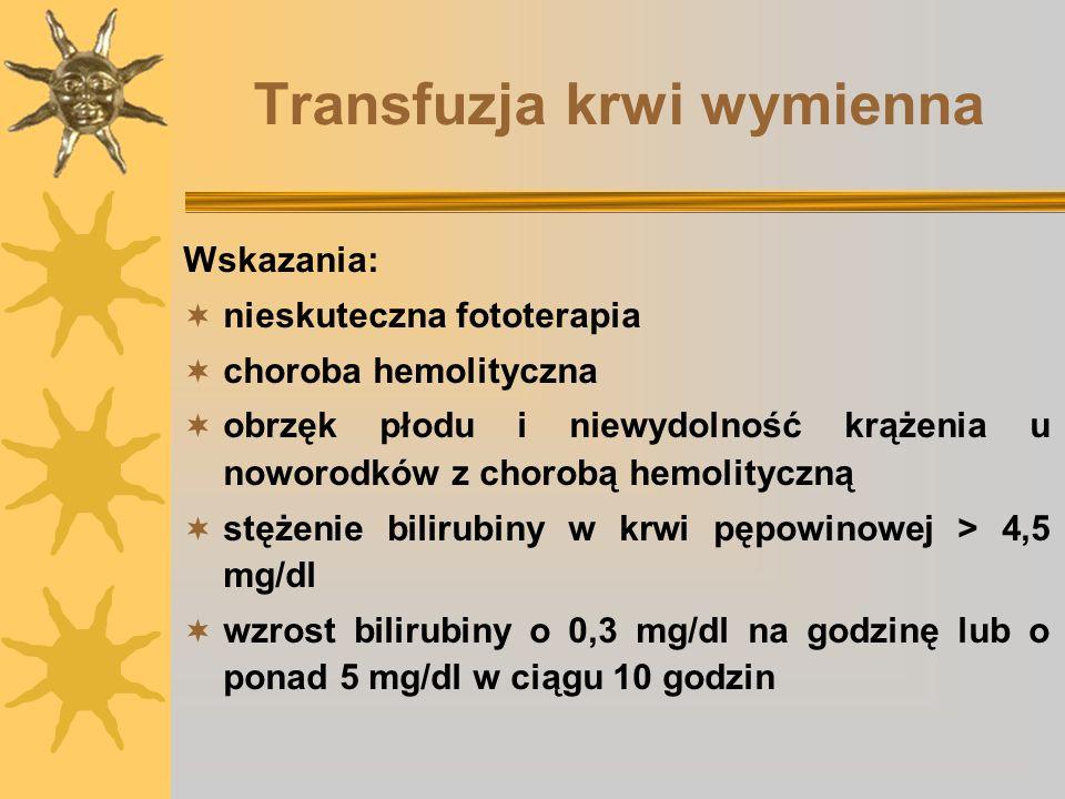 Transfuzja krwi wymienna Wskazania: nieskuteczna fototerapia choroba hemolityczna obrzęk płodu i niewydolność krążenia u noworodków z chorobą hemolity