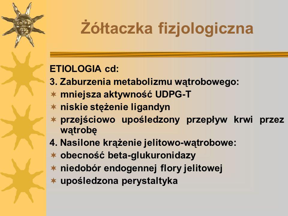Hiperbilirubinemia bezpośrednia Zaburzenia odpływu żółci: 1.cholestaza wewnątrzwątrobowa (wada izolowana, zespół Alagillea (dysplazja tętniczo-wątrobowa) 2.
