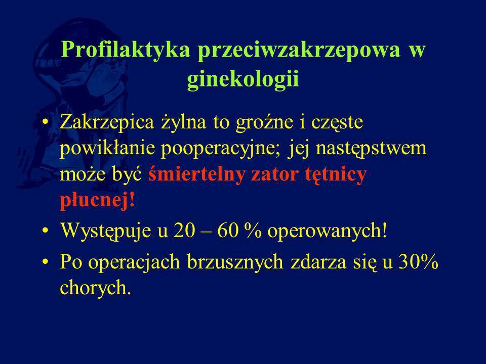 Profilaktyka przeciwzakrzepowa w ginekologii Zakrzepica żylna to groźne i częste powikłanie pooperacyjne; jej następstwem może być śmiertelny zator tę