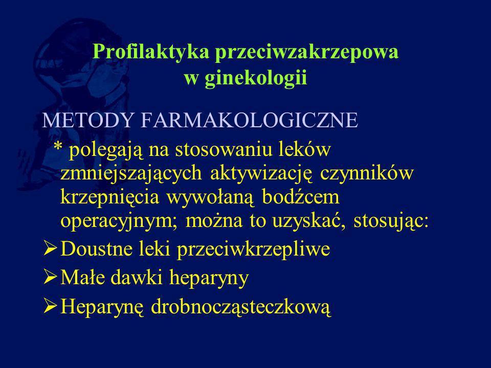 Profilaktyka przeciwzakrzepowa w ginekologii METODY FARMAKOLOGICZNE * polegają na stosowaniu leków zmniejszających aktywizację czynników krzepnięcia w