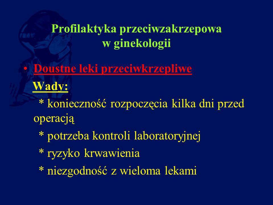 Profilaktyka przeciwzakrzepowa w ginekologii Doustne leki przeciwkrzepliwe Wady: * konieczność rozpoczęcia kilka dni przed operacją * potrzeba kontrol