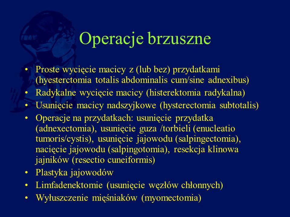 Operacje brzuszne Proste wycięcie macicy z (lub bez) przydatkami (hyesterctomia totalis abdominalis cum/sine adnexibus) Radykalne wycięcie macicy (his
