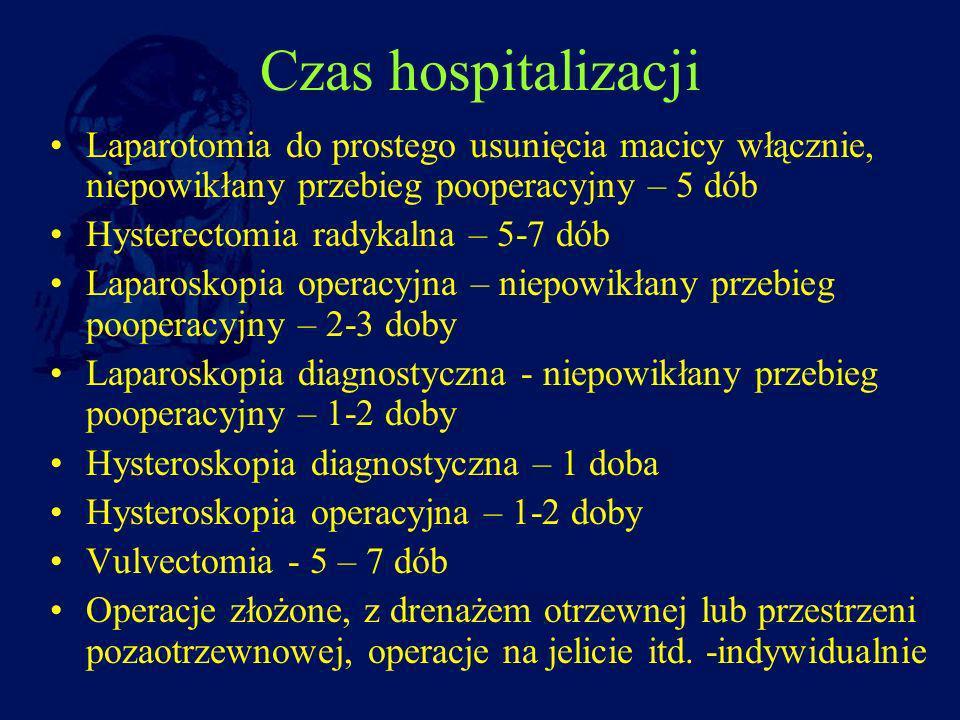 Czas hospitalizacji Laparotomia do prostego usunięcia macicy włącznie, niepowikłany przebieg pooperacyjny – 5 dób Hysterectomia radykalna – 5-7 dób La
