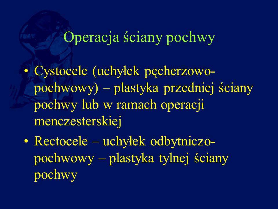 Operacja ściany pochwy Cystocele (uchyłek pęcherzowo- pochwowy) – plastyka przedniej ściany pochwy lub w ramach operacji menczesterskiej Rectocele – u