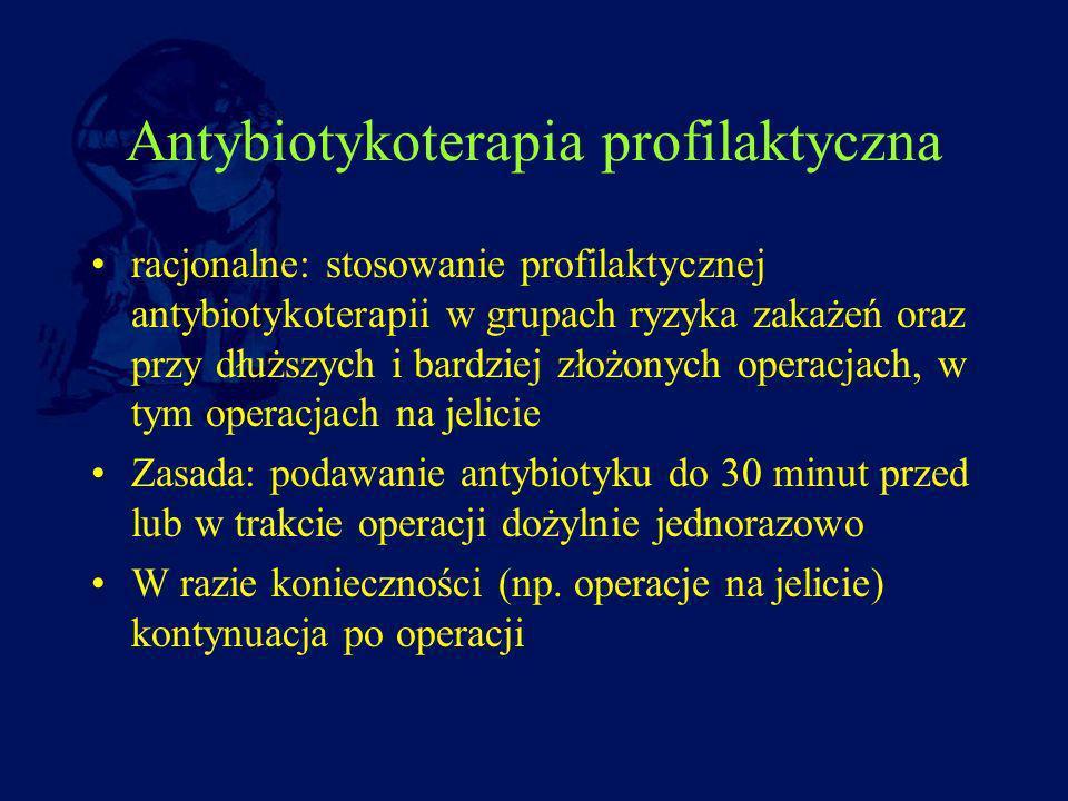 Antybiotykoterapia profilaktyczna racjonalne: stosowanie profilaktycznej antybiotykoterapii w grupach ryzyka zakażeń oraz przy dłuższych i bardziej zł