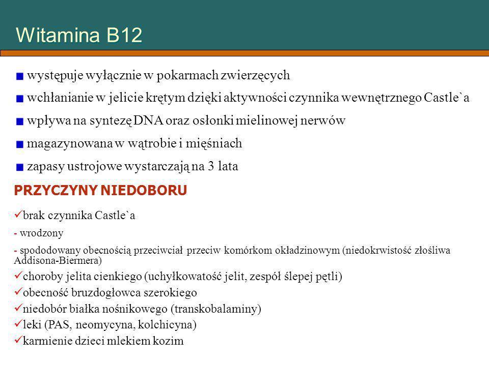 Witamina B12 występuje wyłącznie w pokarmach zwierzęcych wchłanianie w jelicie krętym dzięki aktywności czynnika wewnętrznego Castle`a wpływa na synte
