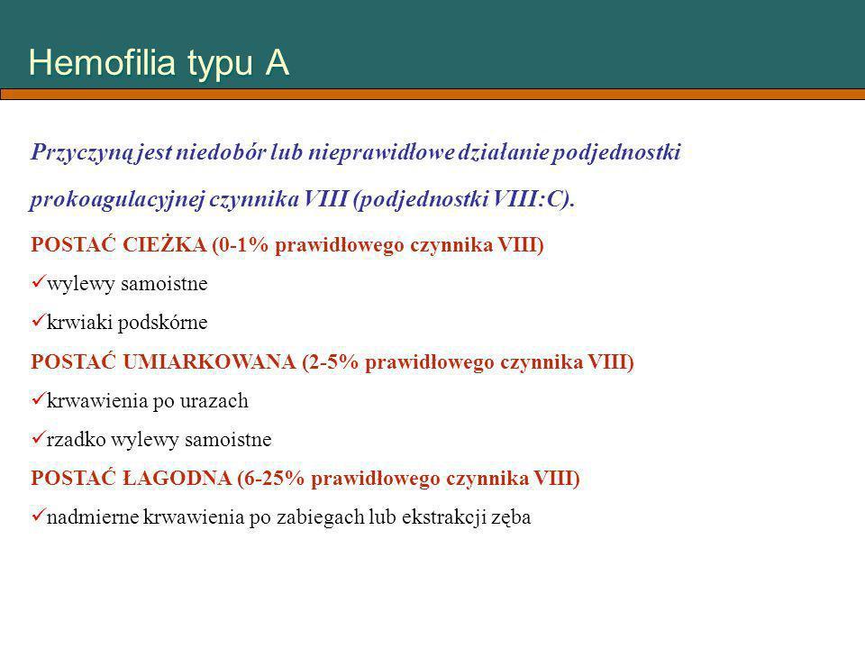Hemofilia typu A Przyczyną jest niedobór lub nieprawidłowe działanie podjednostki prokoagulacyjnej czynnika VIII (podjednostki VIII:C). POSTAĆ CIEŻKA