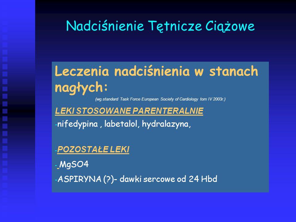 Nadciśnienie Tętnicze Ciążowe Leczenia nadciśnienia w stanach nagłych: (wg.standard Task Force European Society of Cardiology tom IV 2003r.) LEKI STOS