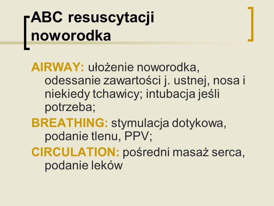 ABC resuscytacji noworodka AIRWAY: ułożenie noworodka, odessanie zawartości j. ustnej, nosa i niekiedy tchawicy; intubacja jeśli potrzeba; BREATHING:
