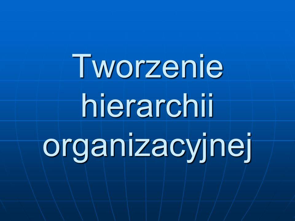 Hierarchia organizacyjna wieloszczeblowy układ w strukturze organizacyjnej, na którego szczycie znajduje się najwyższy rangą menedżer (lub menedżerowie) odpowiedzialny za operacje całej organizacji; na kolejnych szczeblach znajdują się kierownicy niższych stopni wieloszczeblowy układ w strukturze organizacyjnej, na którego szczycie znajduje się najwyższy rangą menedżer (lub menedżerowie) odpowiedzialny za operacje całej organizacji; na kolejnych szczeblach znajdują się kierownicy niższych stopni