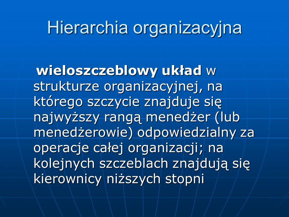 Hierarchia organizacyjna wieloszczeblowy układ w strukturze organizacyjnej, na którego szczycie znajduje się najwyższy rangą menedżer (lub menedżerowi