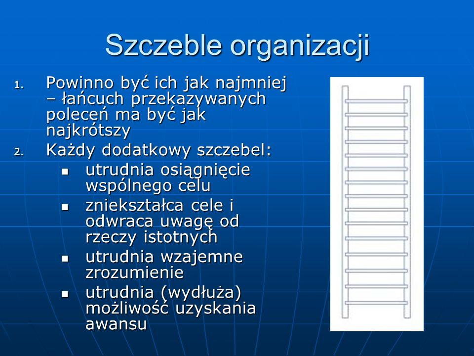 Szczeble organizacji 1. Powinno być ich jak najmniej – łańcuch przekazywanych poleceń ma być jak najkrótszy 2. Każdy dodatkowy szczebel: utrudnia osią