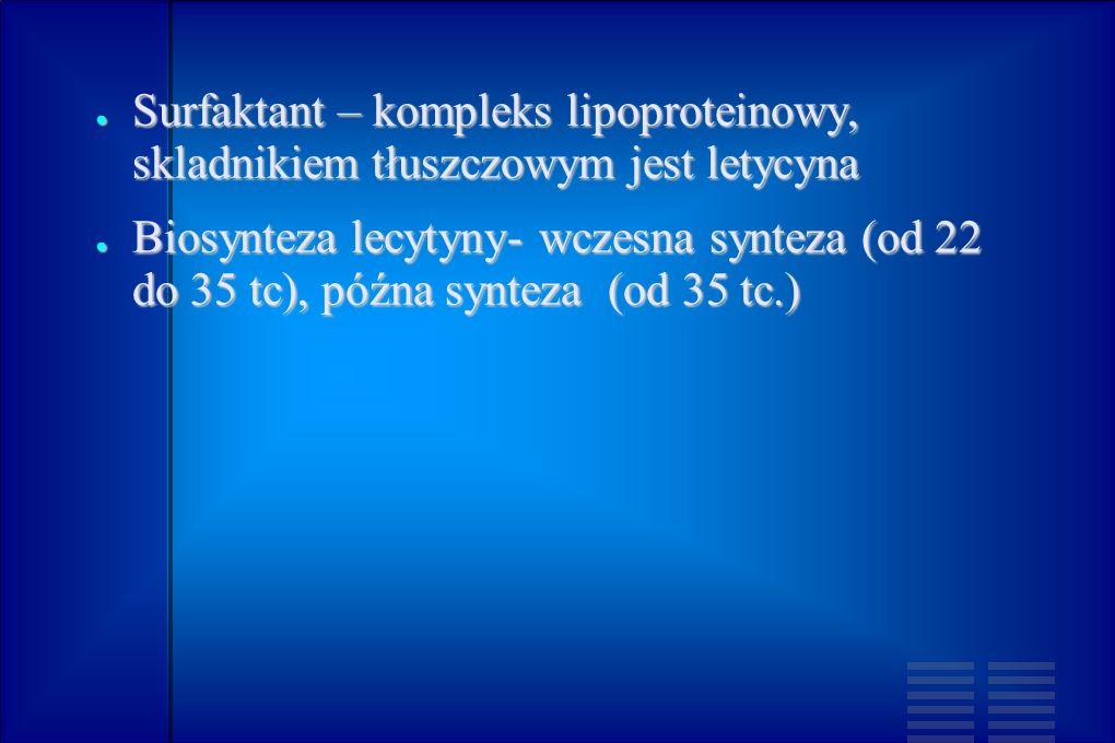 Surfaktant – kompleks lipoproteinowy, skladnikiem tłuszczowym jest letycyna Surfaktant – kompleks lipoproteinowy, skladnikiem tłuszczowym jest letycyn