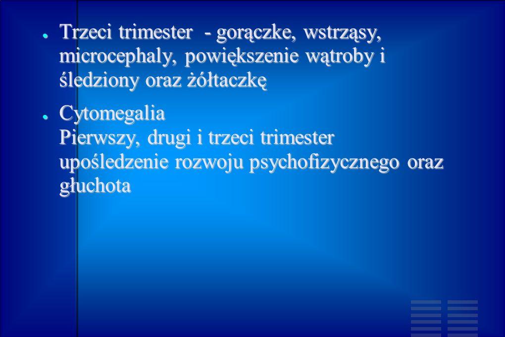 Trzeci trimester - gorączke, wstrząsy, microcephaly, powiększenie wątroby i śledziony oraz żółtaczkę Trzeci trimester - gorączke, wstrząsy, microcepha