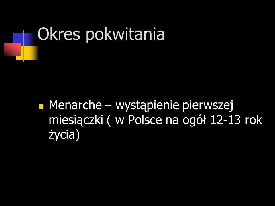 Okres pokwitania Menarche – wystąpienie pierwszej miesiączki ( w Polsce na ogół 12-13 rok życia)