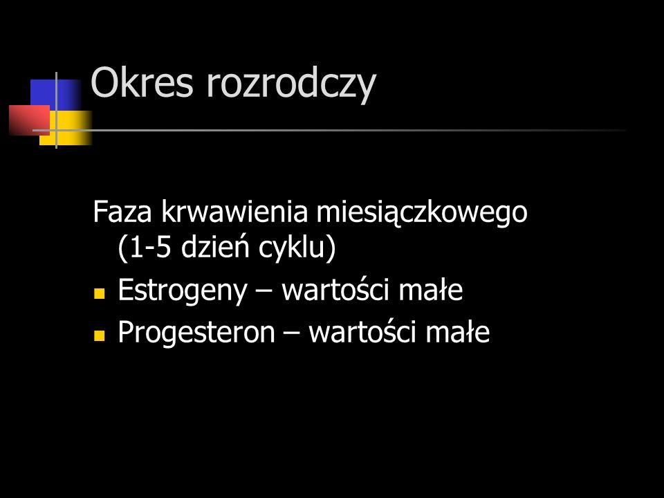 Okres rozrodczy Faza krwawienia miesiączkowego (1-5 dzień cyklu) Estrogeny – wartości małe Progesteron – wartości małe