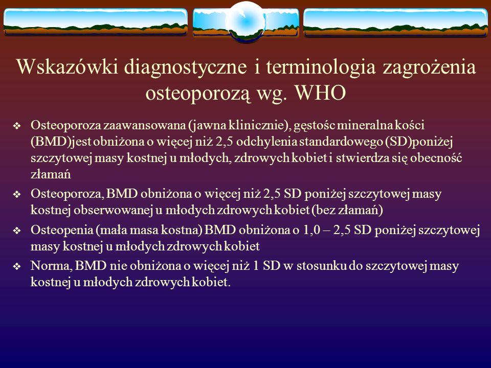 Wskazówki diagnostyczne i terminologia zagrożenia osteoporozą wg. WHO Osteoporoza zaawansowana (jawna klinicznie), gęstośc mineralna kości (BMD)jest o