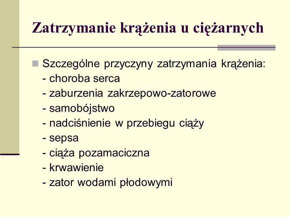 Szczególne przyczyny zatrzymania krążenia: - choroba serca - zaburzenia zakrzepowo-zatorowe - samobójstwo - nadciśnienie w przebiegu ciąży - sepsa - ciąża pozamaciczna - krwawienie - zator wodami płodowymi Zatrzymanie krążenia u ciężarnych