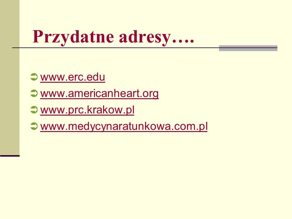 Przydatne adresy…. www.erc.edu www.americanheart.org www.prc.krakow.pl www.medycynaratunkowa.com.pl