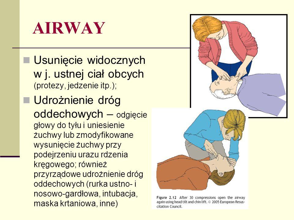 BREATHING Ocena oddechu – trwa 10 s; obserwuj ruchy klatki piersiowej, słuchaj szmerów oddechowych oraz wyczuj prąd wydychanego powietrza; Częstość oddechów; Tor i głębokość oddechu; Dźwięki przy oddychaniu (charczenie, bulgotanie, stridor, świsty); Wskazania pulsoksymetru; Osłuchiwanie i opukiwanie płuc (odma?); Ocena przemieszczenia tchawicy; Podaj 100% tlen – min.