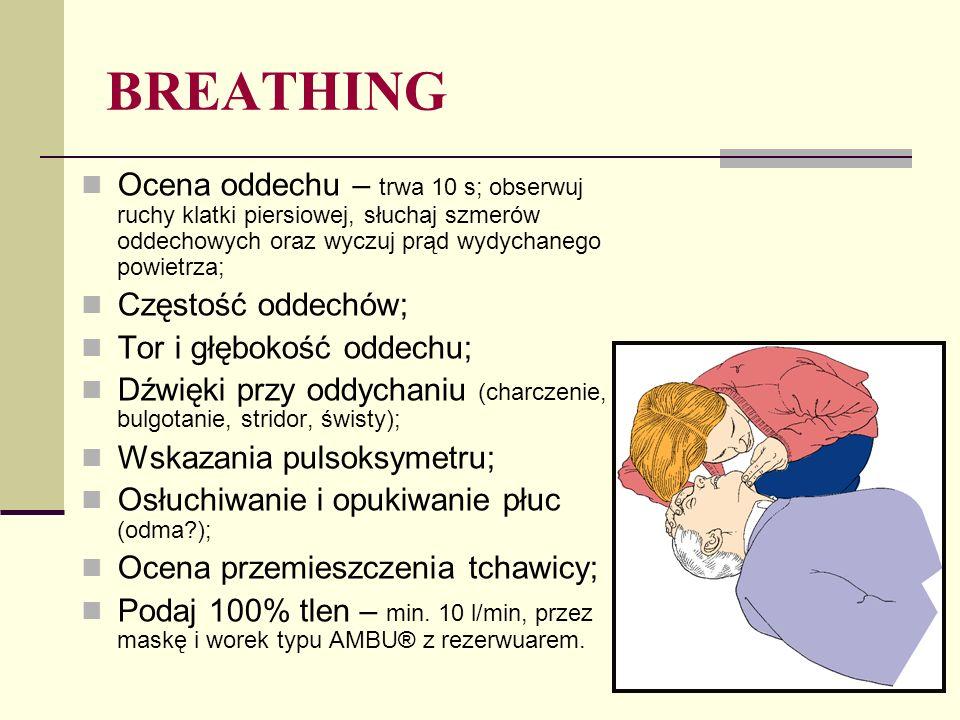 Poszkodowany nie reaguje, brak oddechu = NAGŁE ZATRZYMANIE KRĄŻENIA Jest to ostatni moment, aby WEZWAĆ ZESPÓŁ RESUSCYTACYJNY!!.