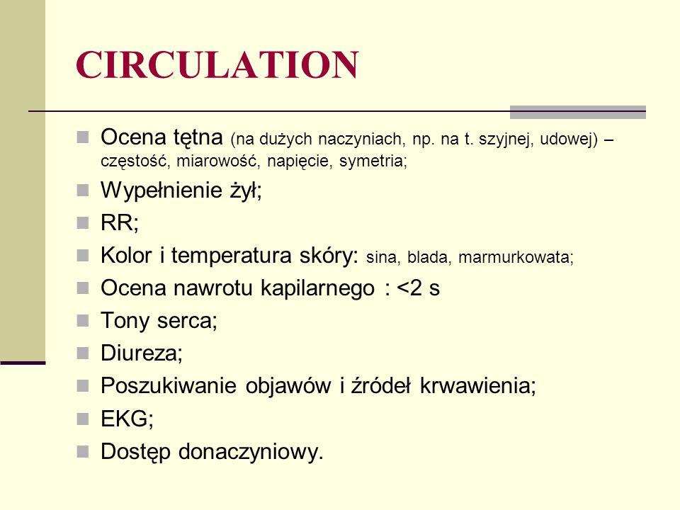 CIRCULATION Ocena tętna (na dużych naczyniach, np.