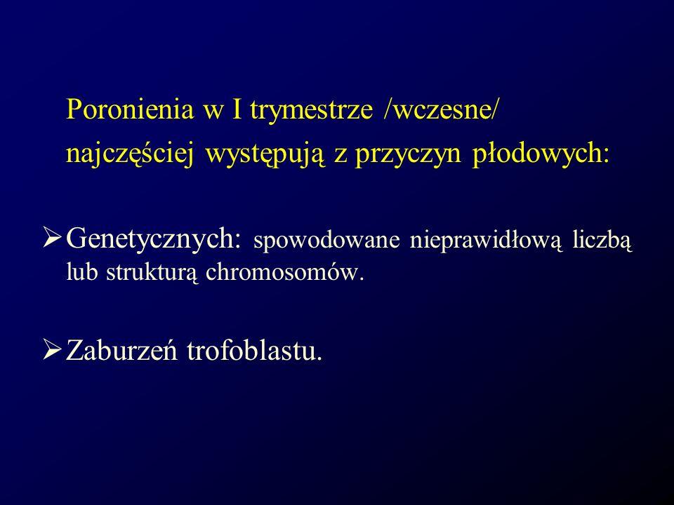 Poronienia w I trymestrze /wczesne/ najczęściej występują z przyczyn płodowych: Genetycznych: spowodowane nieprawidłową liczbą lub strukturą chromosom