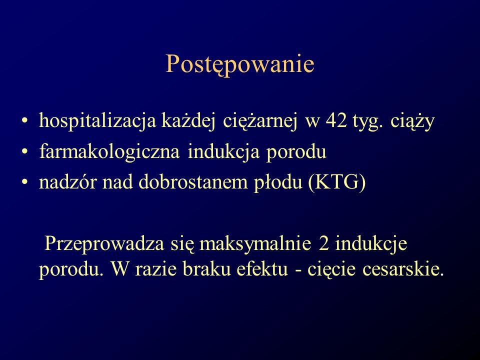 Postępowanie hospitalizacja każdej ciężarnej w 42 tyg. ciąży farmakologiczna indukcja porodu nadzór nad dobrostanem płodu (KTG) Przeprowadza się maksy