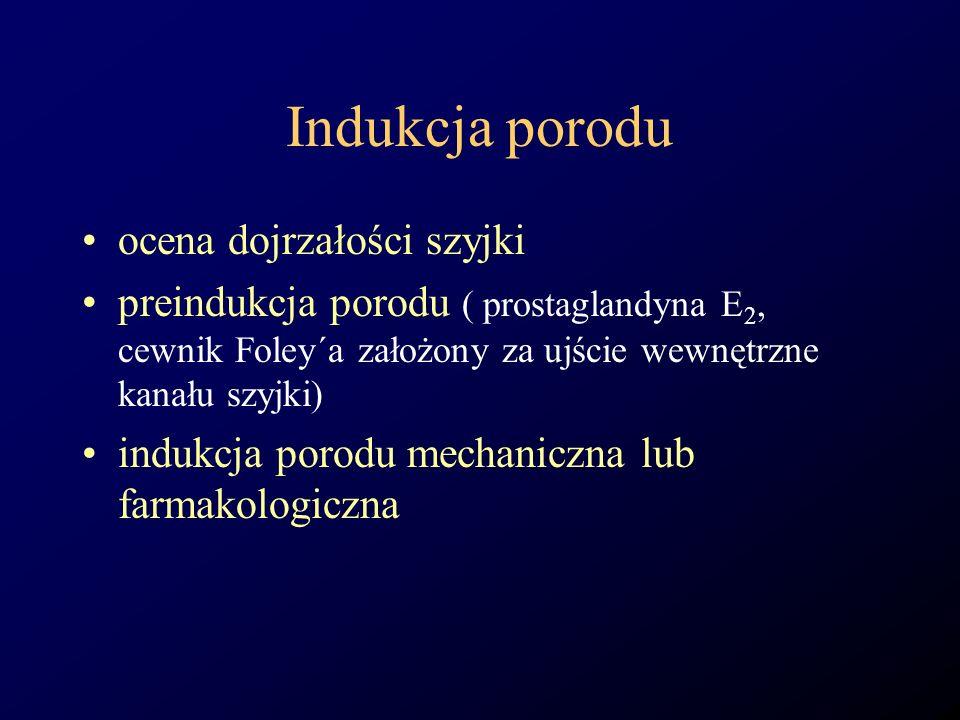 Indukcja porodu ocena dojrzałości szyjki preindukcja porodu ( prostaglandyna E 2, cewnik Foley´a założony za ujście wewnętrzne kanału szyjki) indukcja